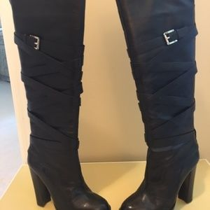 Michael Kors Greenwich Belted Black Boots New